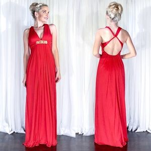 Xscape Red Open Back Formal Homecoming Prom Dress